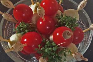 Tomate Mozzarella Spieße mit Kresse